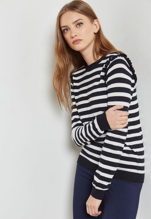 Ruffle Shoulder Striped Sweater