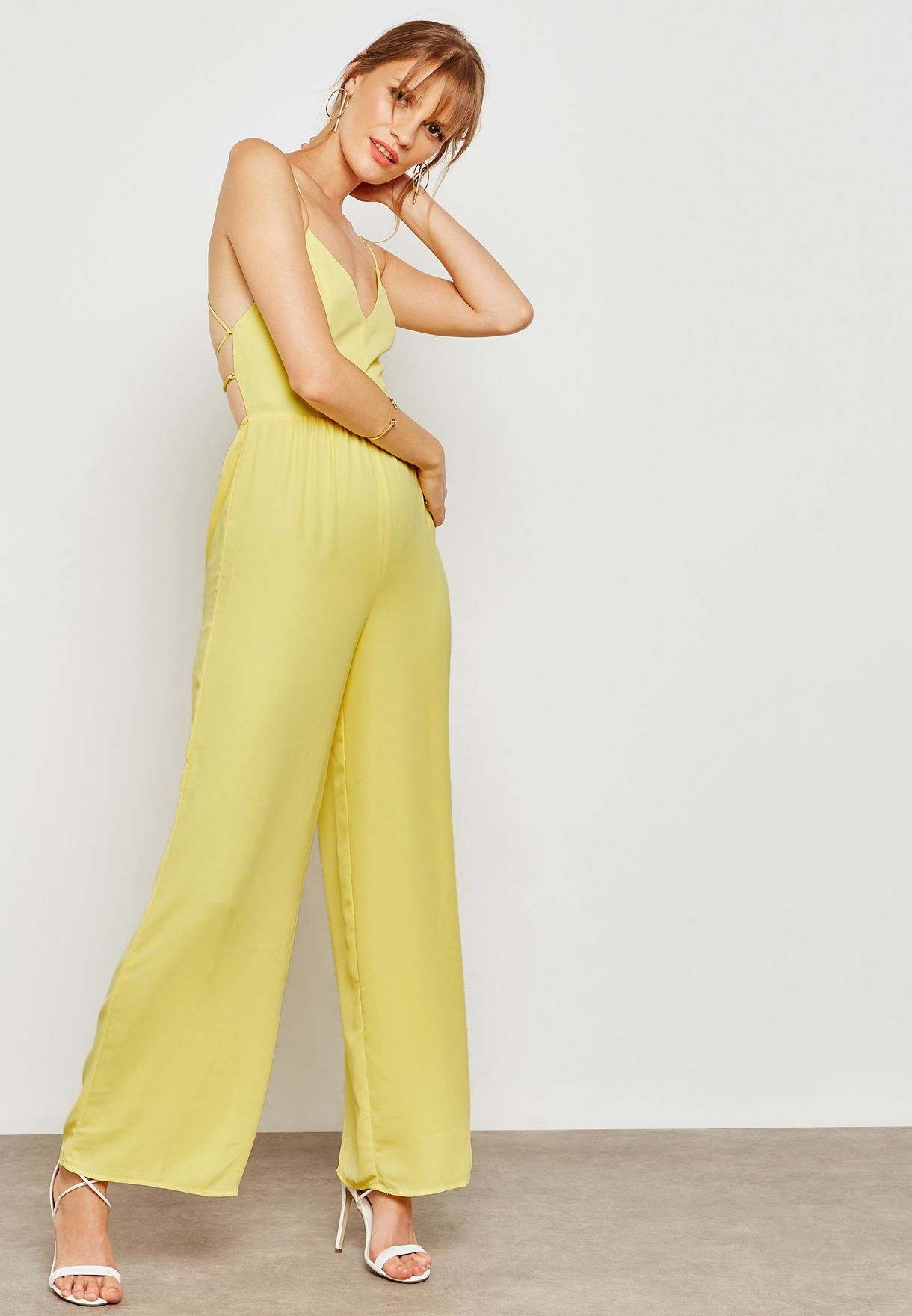 Shop Forever 21 Yellow Backless Cami Jumpsuit 256469 For Women In