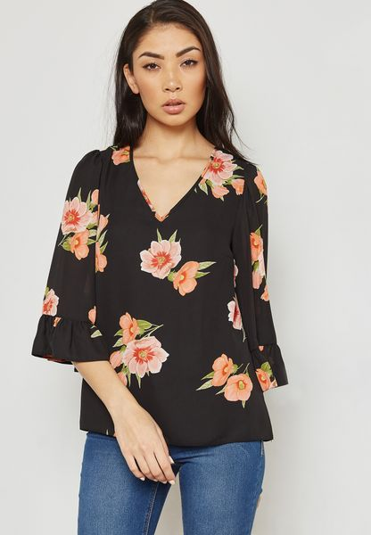 Floral Print Flute Sleeve Top