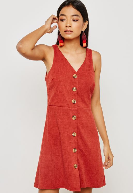 Button Front Pinafore Dress