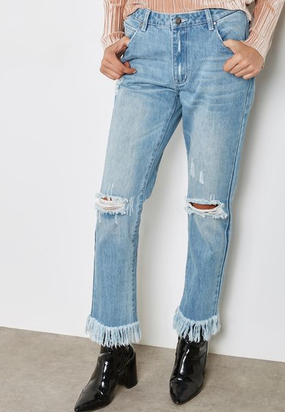 Fray Hem Ripped Jeans