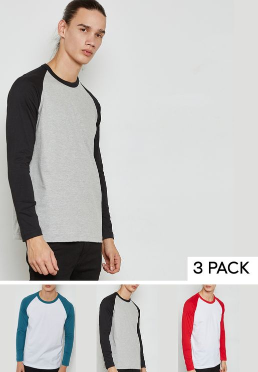3 Pack Raglan Crew Neck T-Shirt