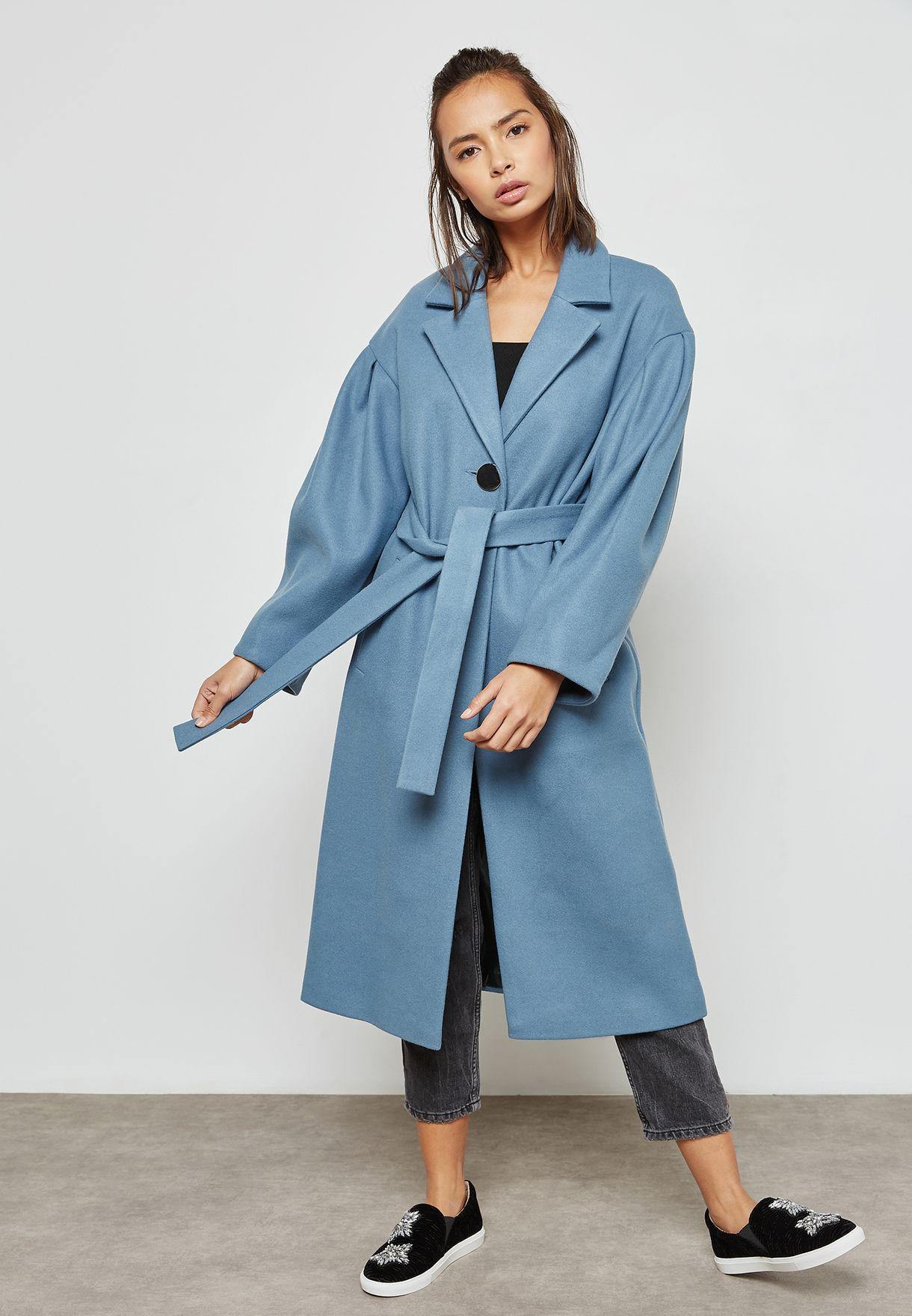 5e50c8bb9cf8 Shop Topshop blue Longline Belted Coat 07D01MBLE for Women in UAE ...