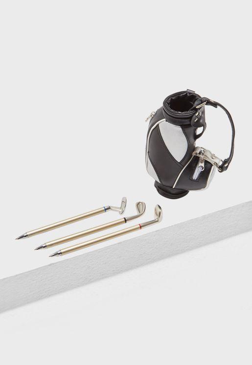 Golf Bag & Clubs Desktop Pen Set