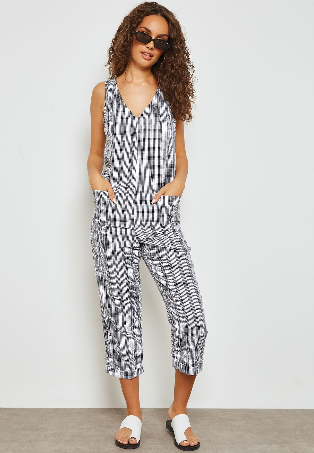 5906788c7fa Shop Topshop monochrome Checked Jumpsuit 16W03PMON for Women in UAE ...