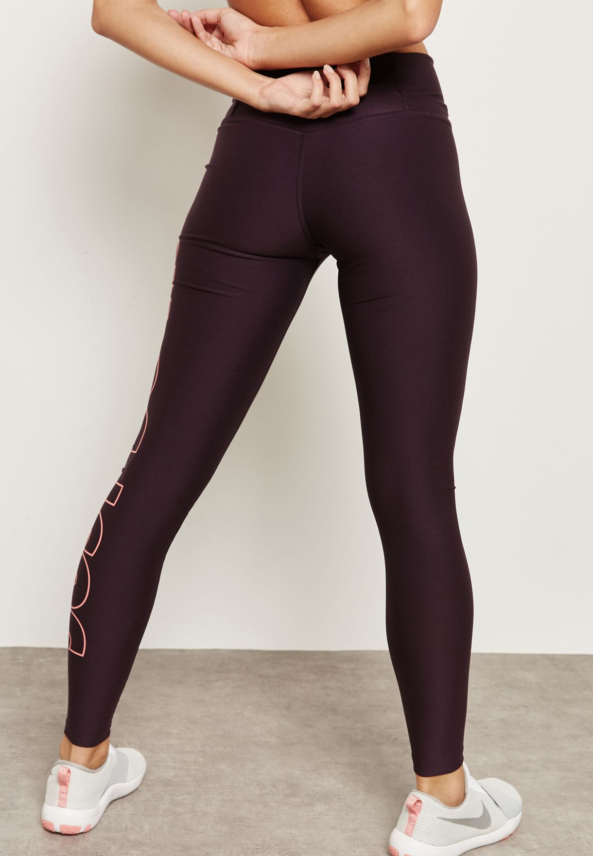 24a4894abec6a8 Shop Nike burgundy Power Just Do It Tights 897878-652 for Women in ...