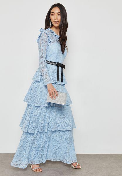 Self Tie Tiered Ruffle Lace Dress