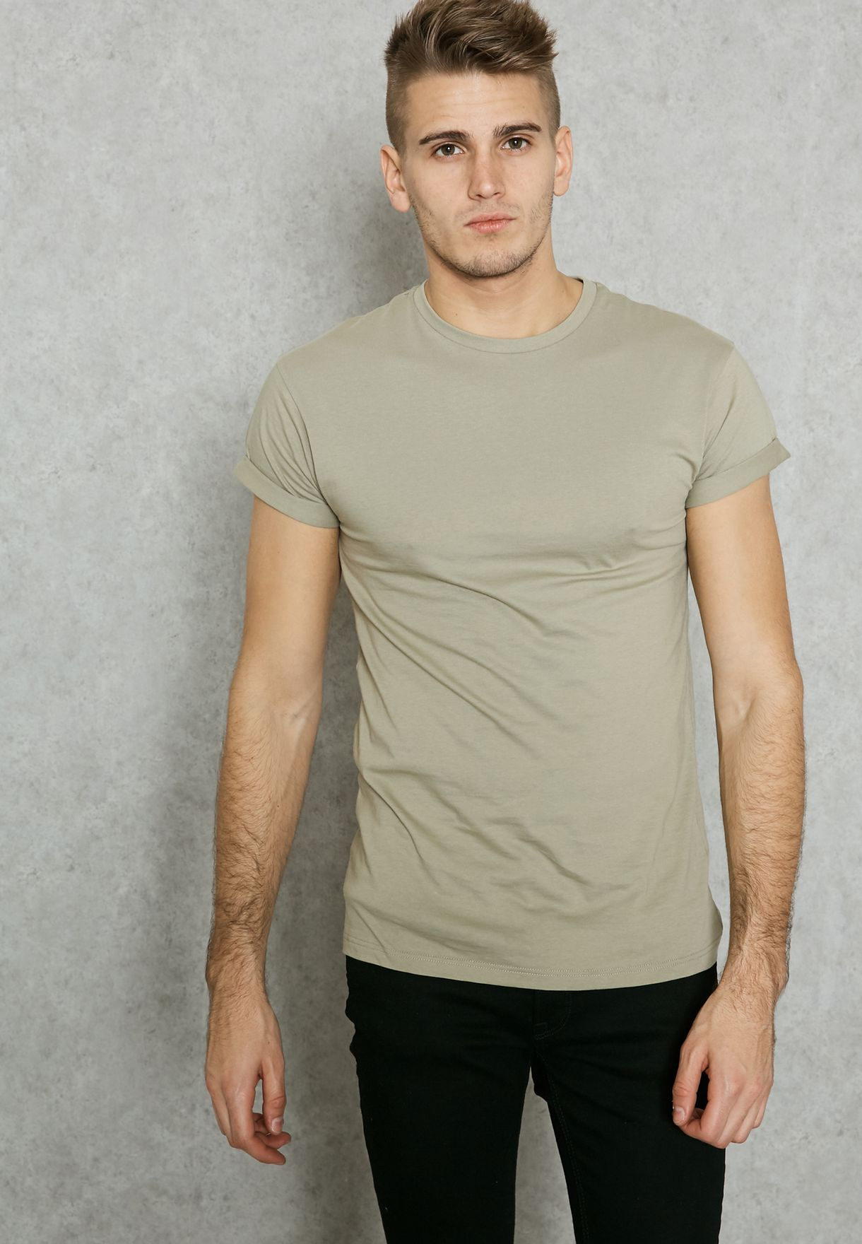 0c538cc2 Shop Topman green Muscle Fit Roller T-Shirt 71H00PKHA for Men in ...