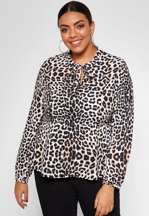 Leopard Print Pussybow Neck Shirt