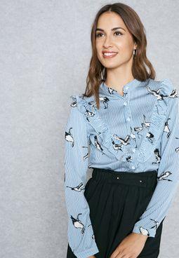 Striped Printed Ruffle Paneled Shirt