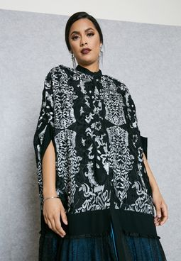 High Neck Embroidered Top Lace Cape Abaya