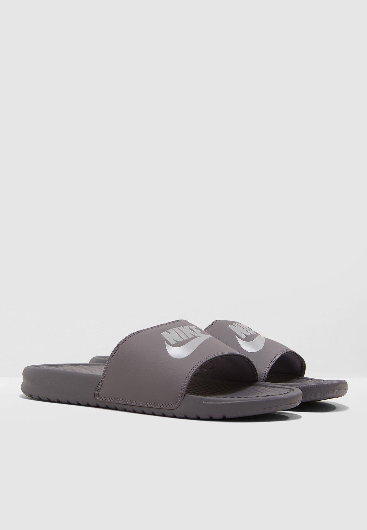 eac747b79 Shop Nike grey Benassi JDI Slides 343880-020 for Men in UAE ...