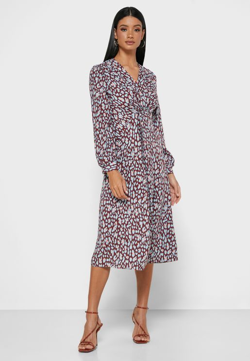 Long Sleeve Twisted Front Leopard Print Midi Dress