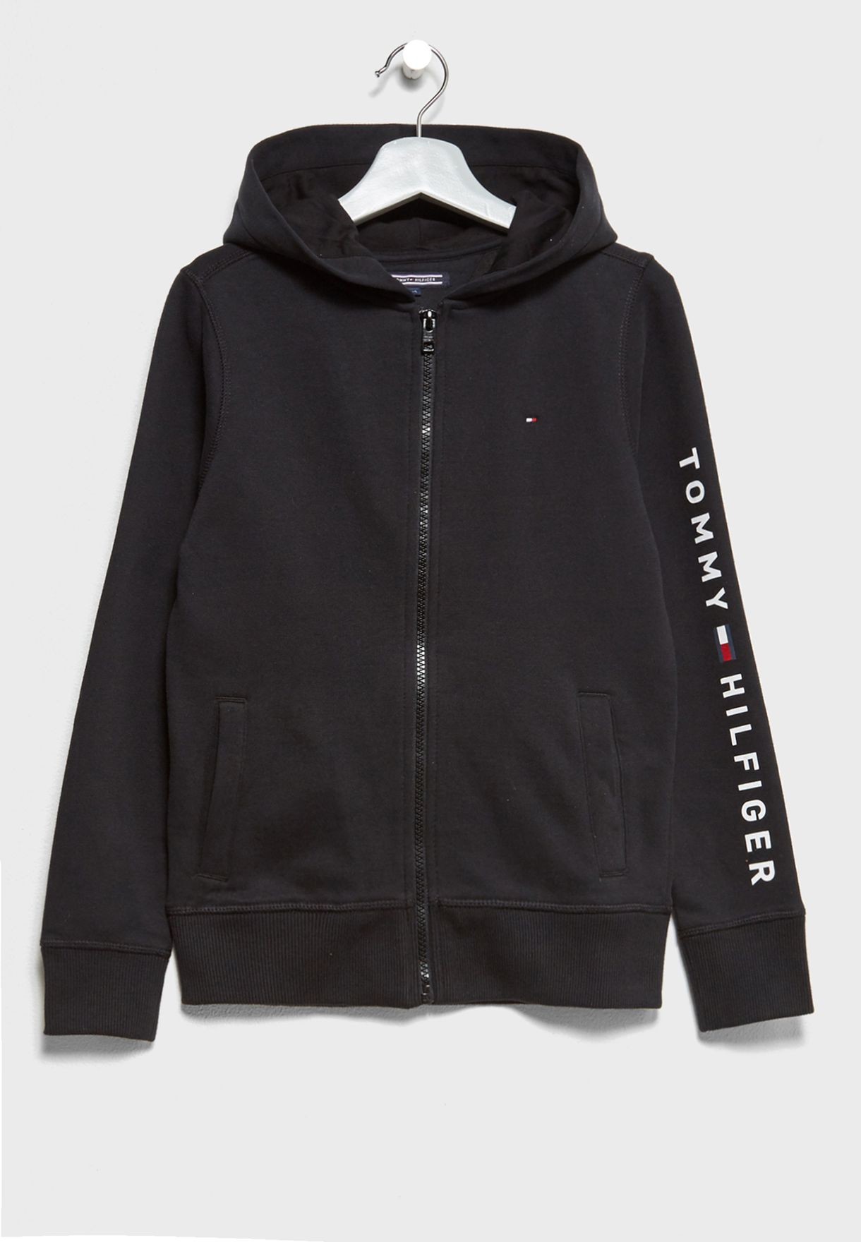 90e5592c Shop Tommy Hilfiger black Teen Zip Through Hoodie KB0KB03383 for ...