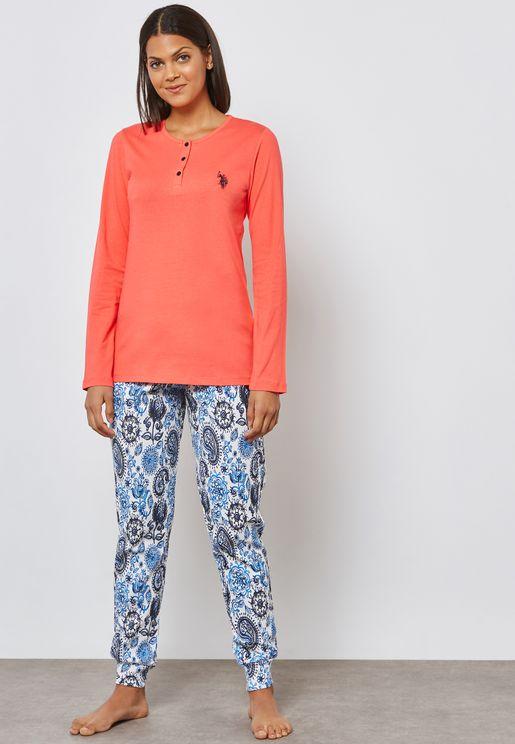 Logo T-Shirt & Printed Pyjama Set