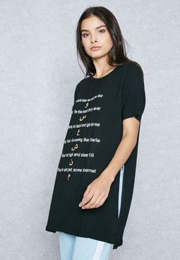 Arabic Slogan Long Slit T-Shirt