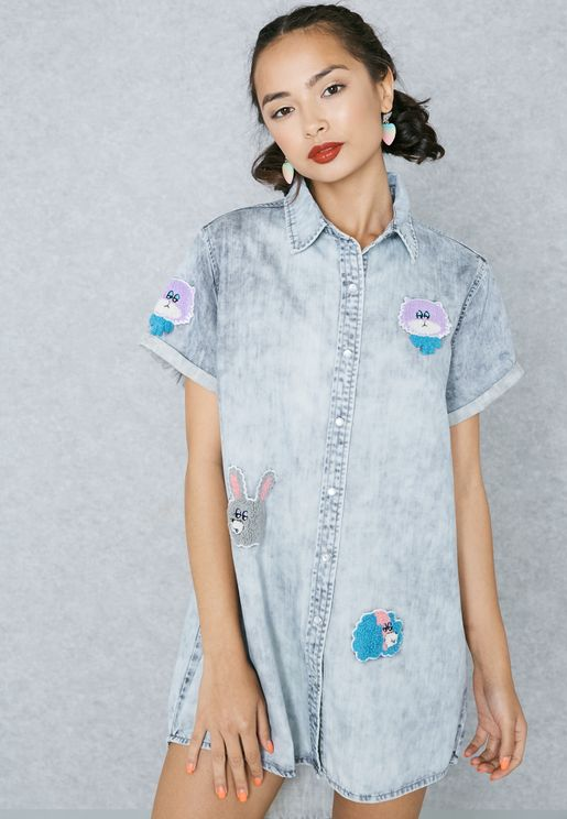 High Low Patch Shirt