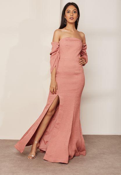 Front Split Bardot Maxi Dress