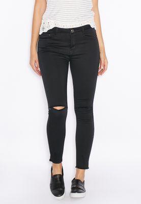 Ginger Raw Hem Knee Slit Skinny Jeans