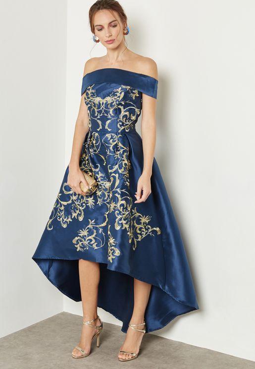 Printed High Low Bardot Dress