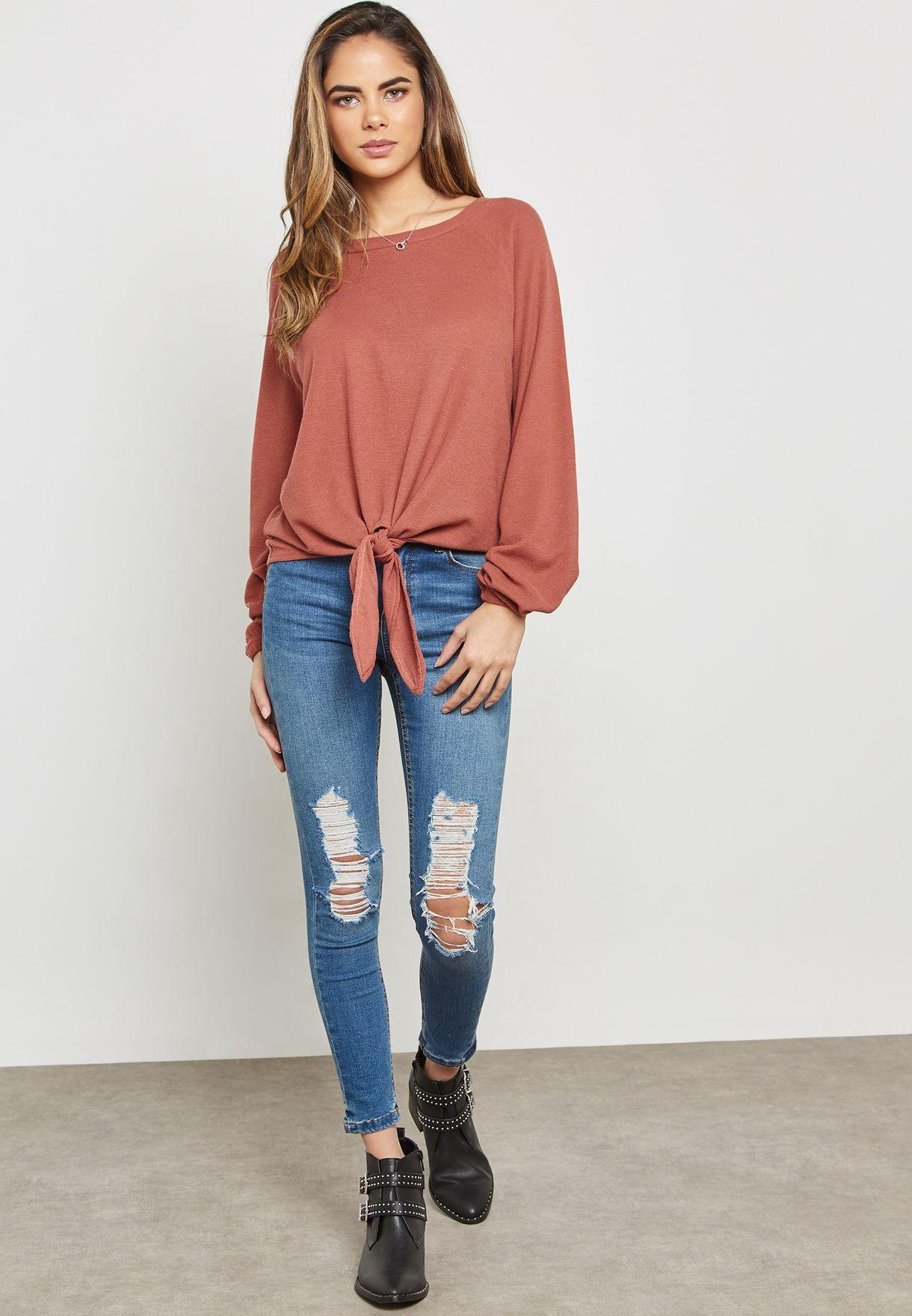 Tie Front Ribbed Lounge Sweatshirt
