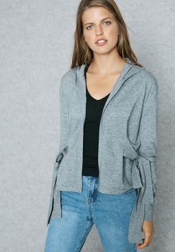 Side Bow Hooded Cardigan