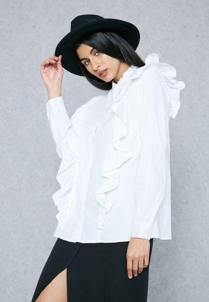 Ruffle Paneled Shirt