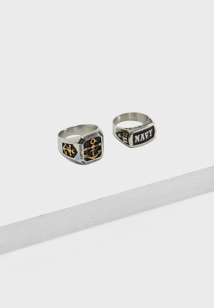 2 Pack Biker Ring Set
