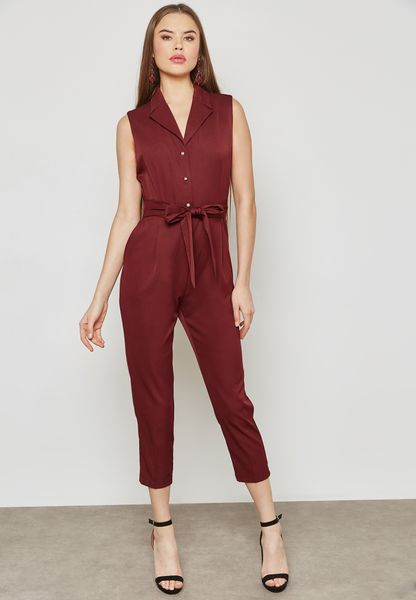 Self Tie Cropped Shirt Jumpsuit