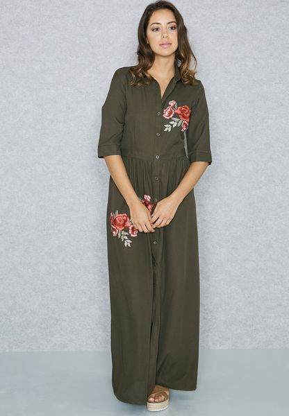 Embroidered Shirt Maxi Dress