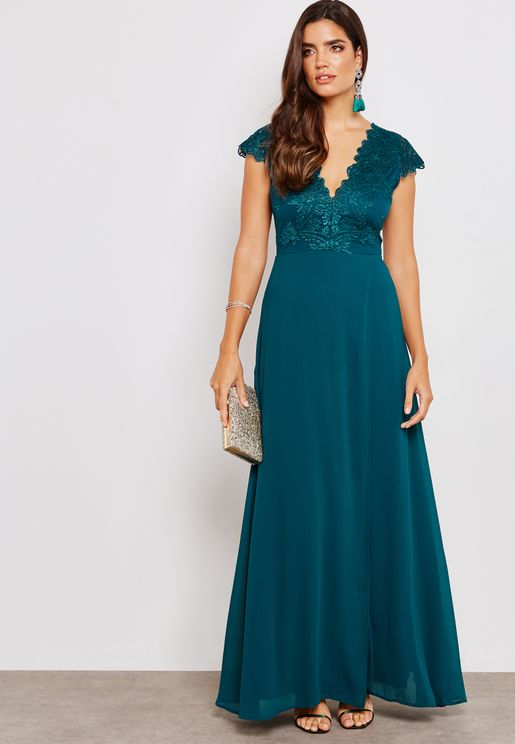 Lace Mesh Maxi Dress
