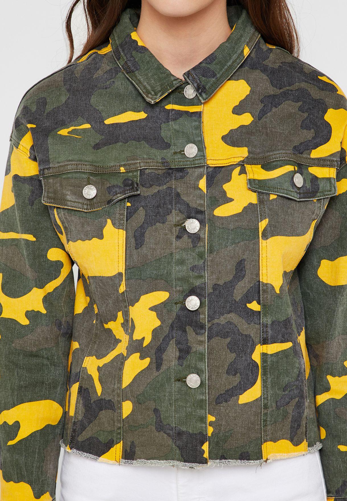 Camo Cropped Denim Jacket