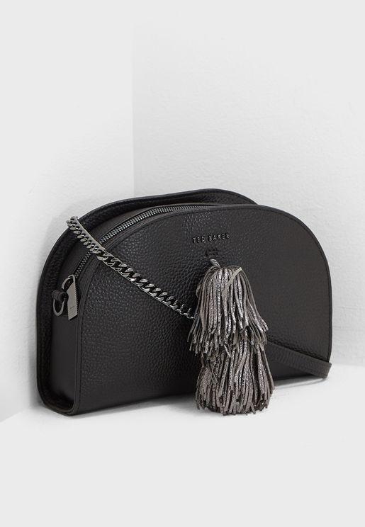 Maaryy Leather Pom Crossbody