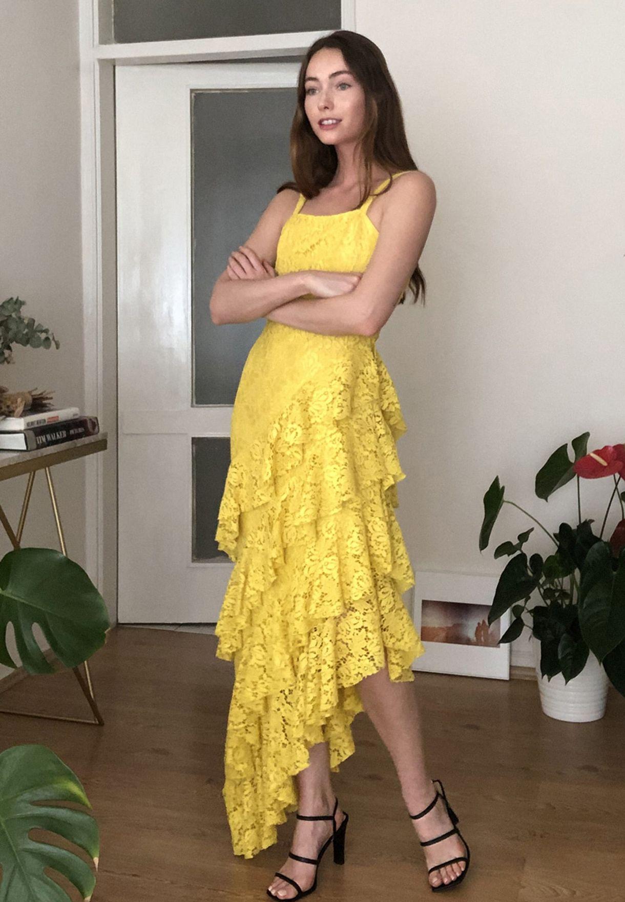 Ruffle Hem Asymmetric Lace Dress