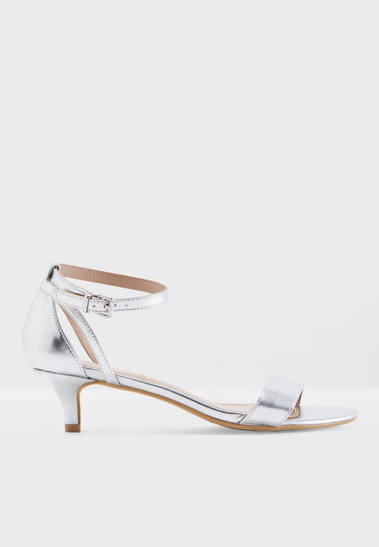 810e2b46fac6c Shop Dorothy Perkins silver Sunrise Kitten Heel Sandals 19128188 for ...