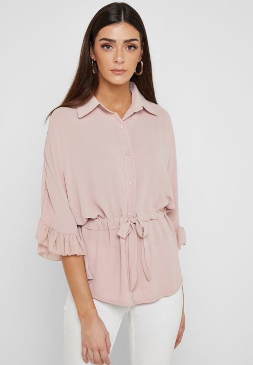 Ruffle Sleeve Drawstring Waist Shirt