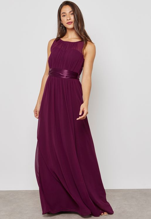 Sateen Bow Back Sleeveless Maxi Bridesmaid Dress