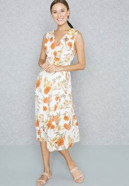 Floral Print Ruffle Wrap Front Tie Dress
