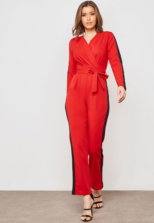 Side Paneled Wrap Front Jumpsuit