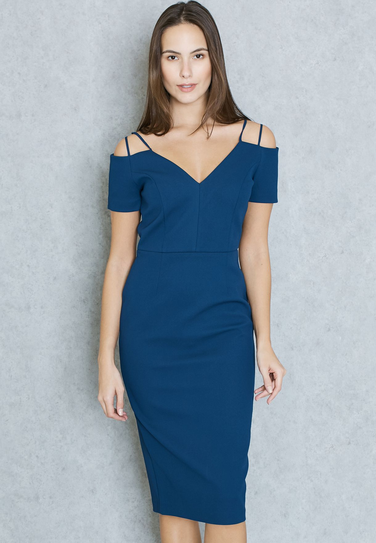 061feeed436 Shop Topshop navy Cold Shoulder Bodycon Dress 35W05KNAV for Women in UAE