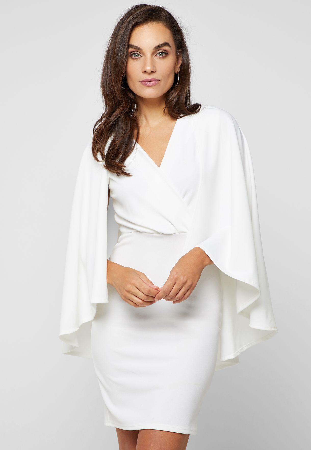 Wrap Front Cape Dress