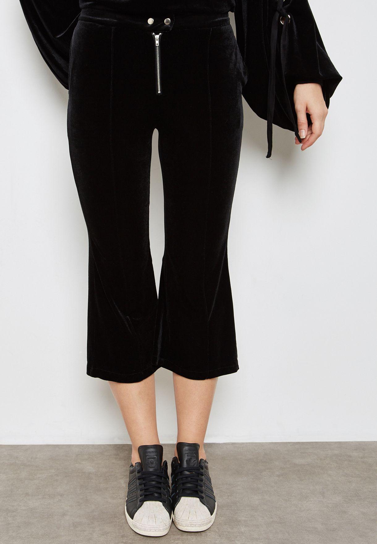 Tie Sleeve Velvet Cropped Pants Set