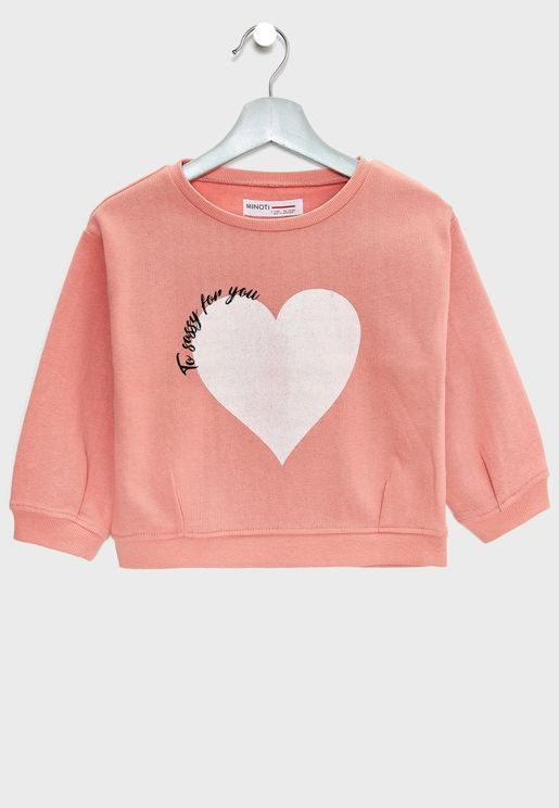 Little Heart Print Sweatshirt