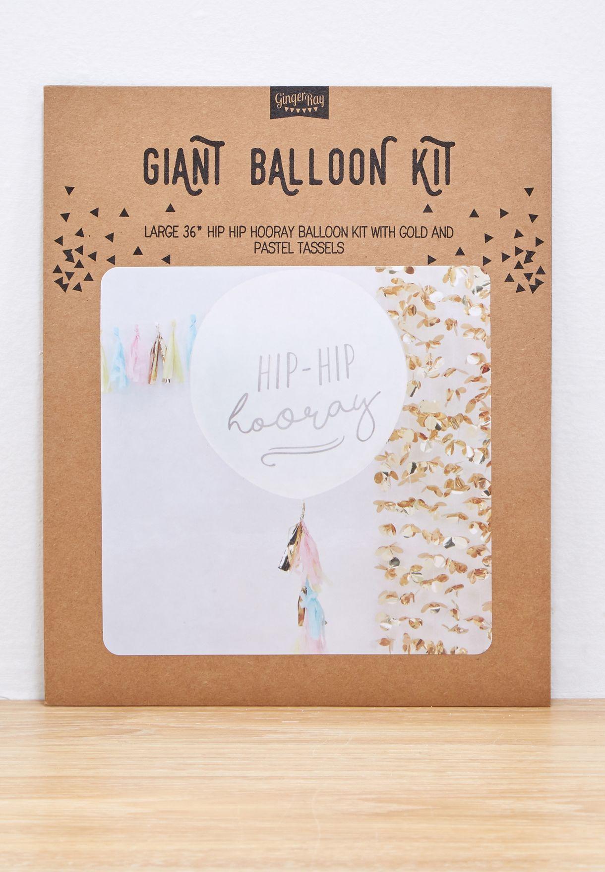 "Large 36"" Hip Hip Hooray Balloon Kit With Tassels"