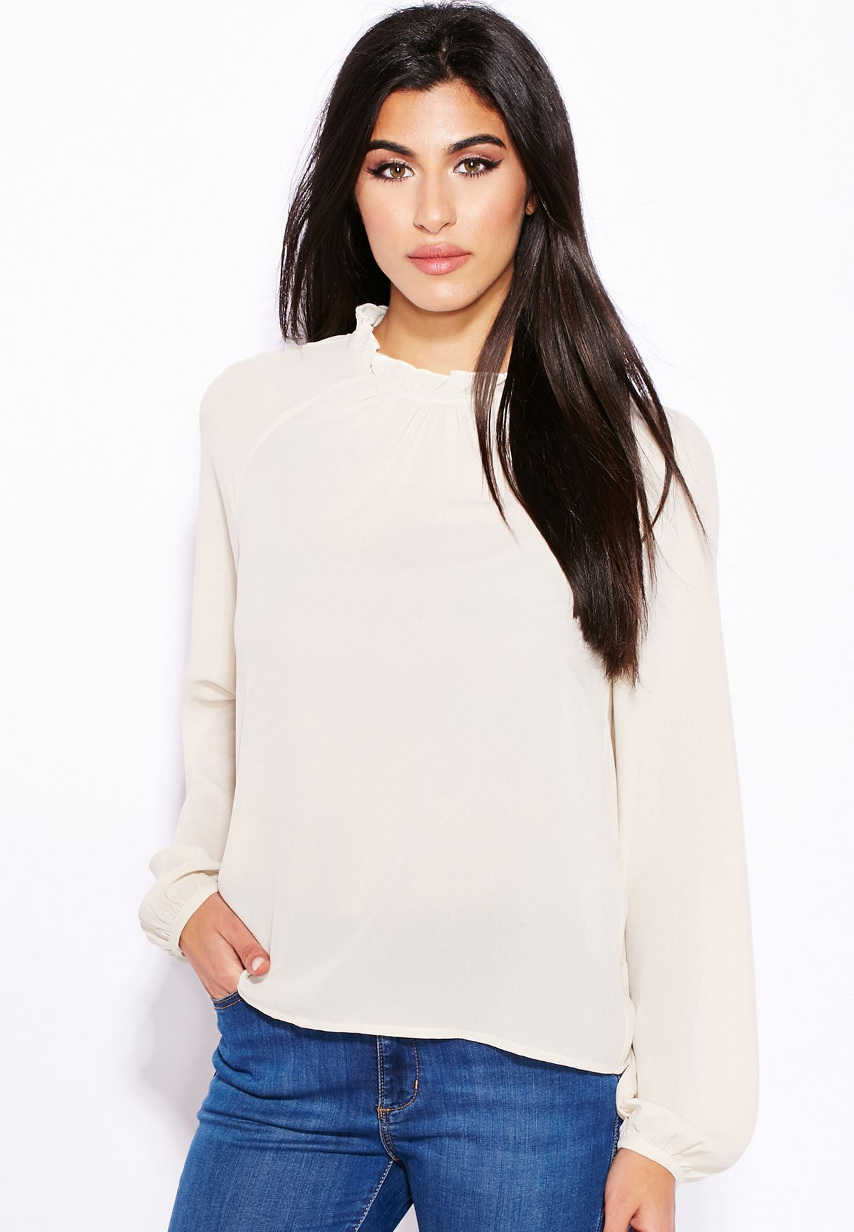 621f4618249d88 Shop Vero Moda white Ruffle Neck Top for Women in Qatar - VE758AT05UGK