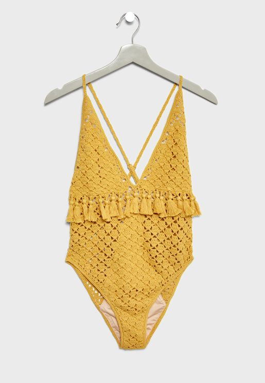 Crochet Tassel Swimsuit