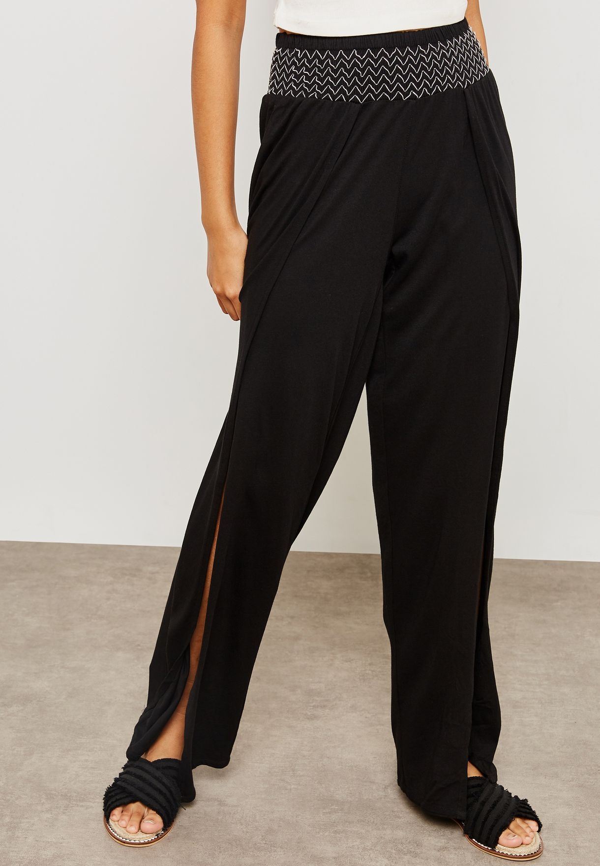 f5ccf11b16 Shop New Look black Wide Leg Split Beach Cover-up Pants 571136801 ...