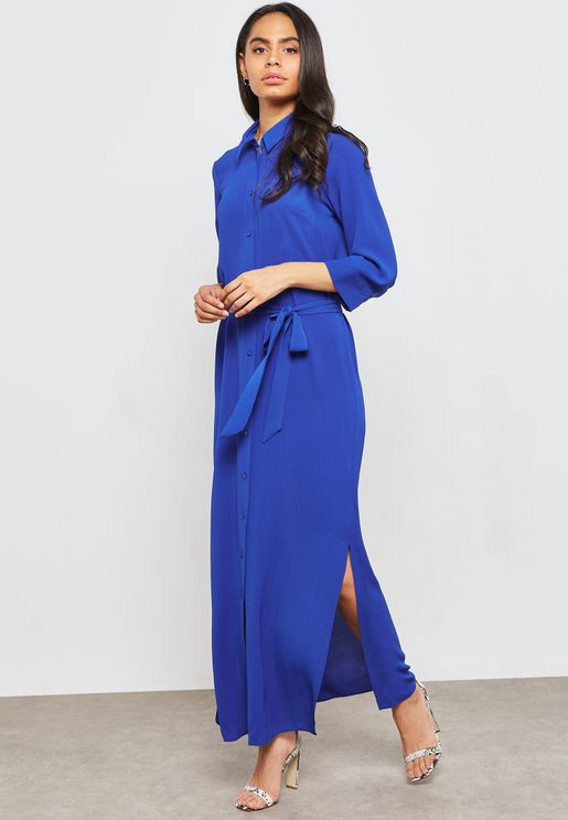 Belted Striped Button Down Maxi Dress