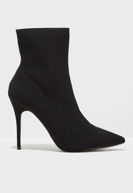 Aleka Knit Point Stiletto Boot