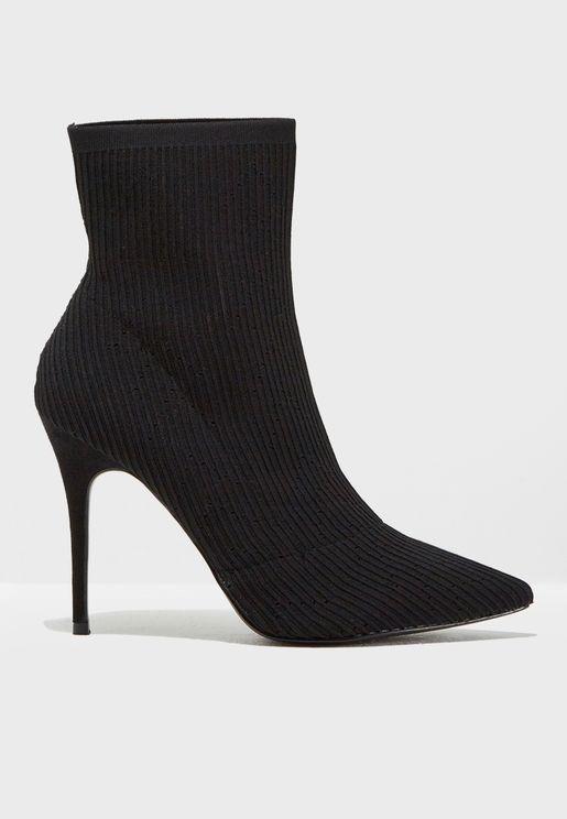 Aleka Knit Point Stiletto Boot